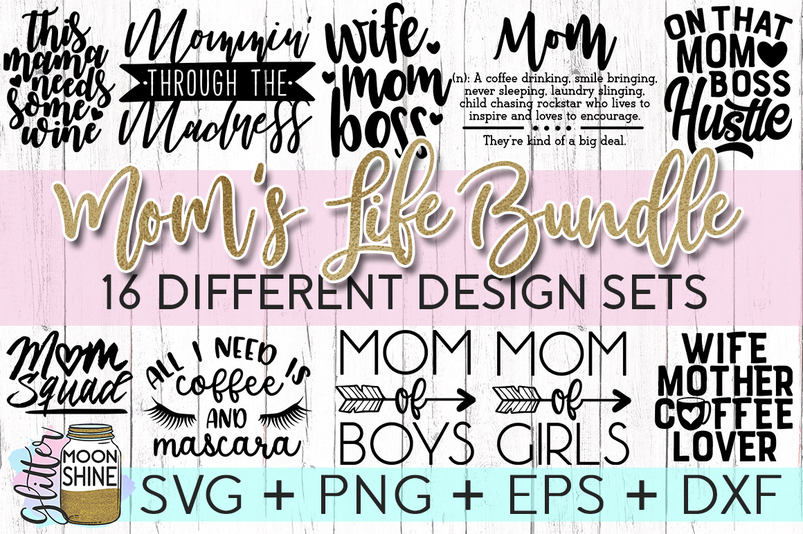 Mom's Life Bundle SVG DXF PNG EPS Cutting Files example image 2