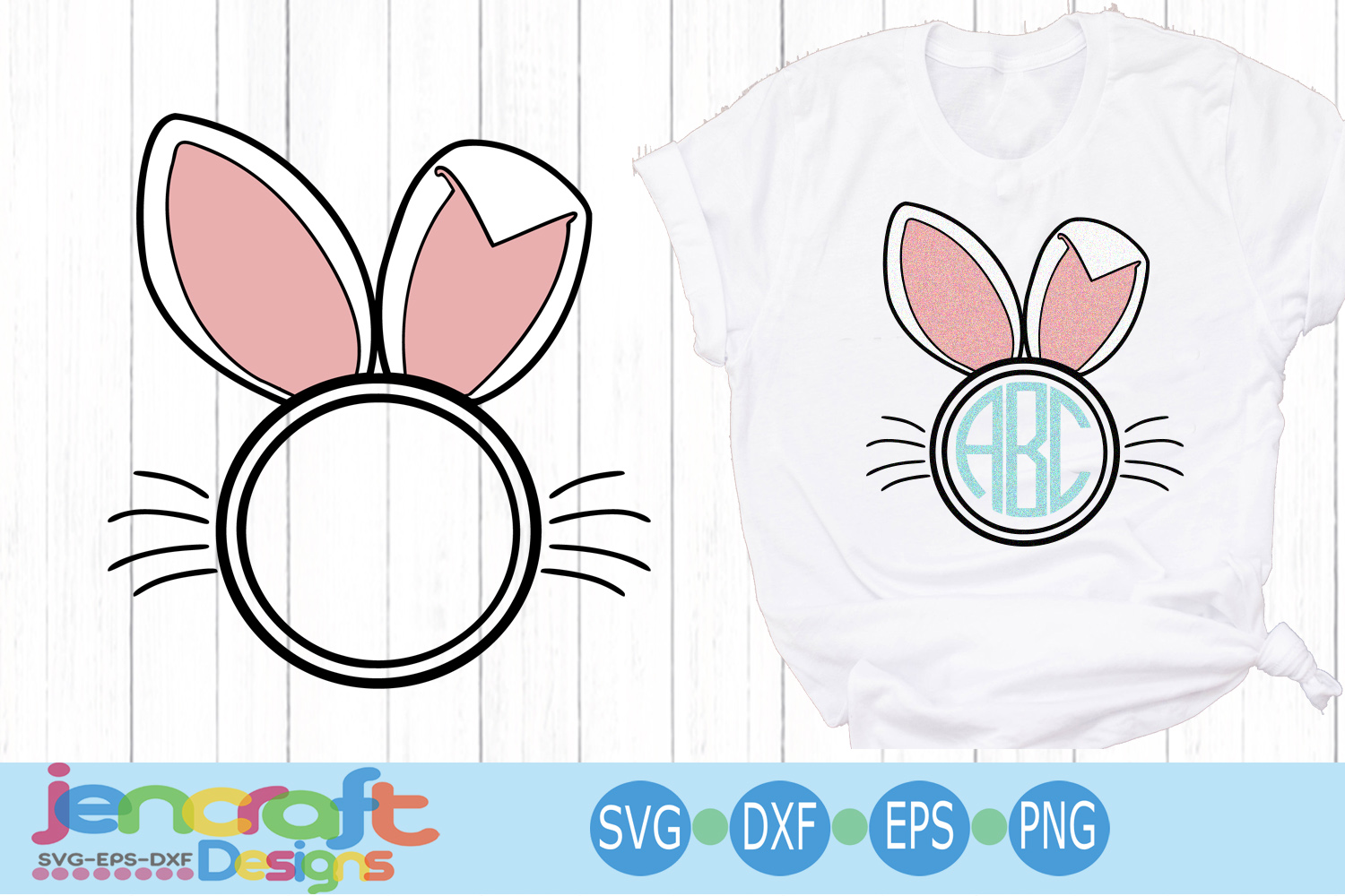 Easter Bunny Ear svg Bunny frame svg, eps, dxf example image 3