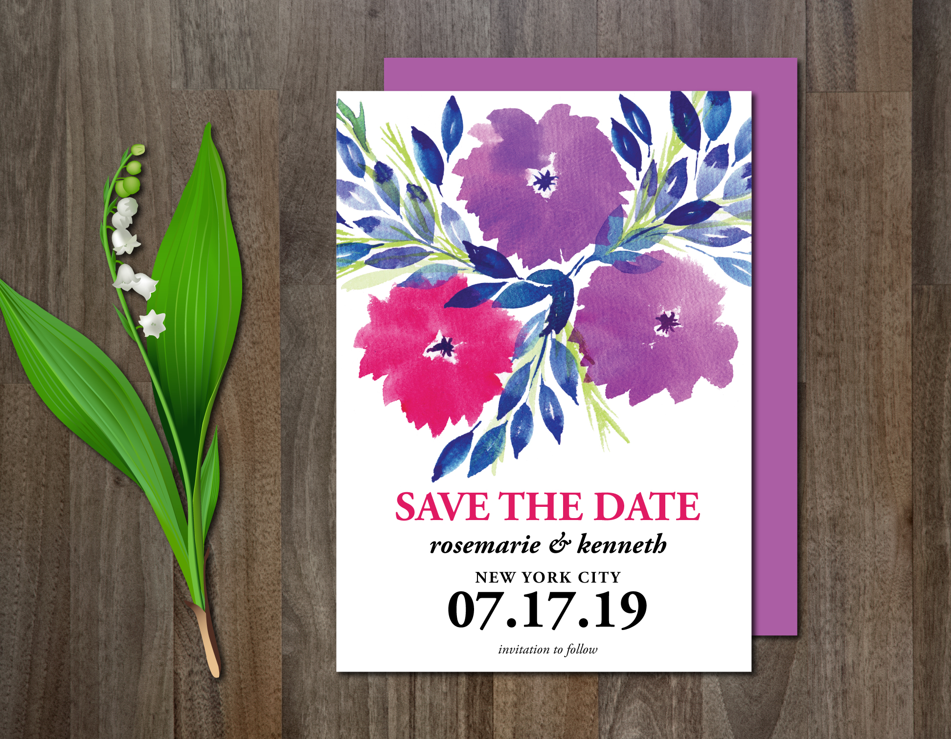 Watercolor Flowers Wedding Suite example image 3