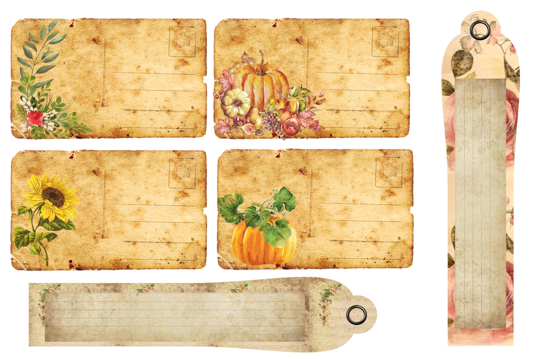 Fall Autumn Harvest Journaling kit with free ephemera CU example image 4