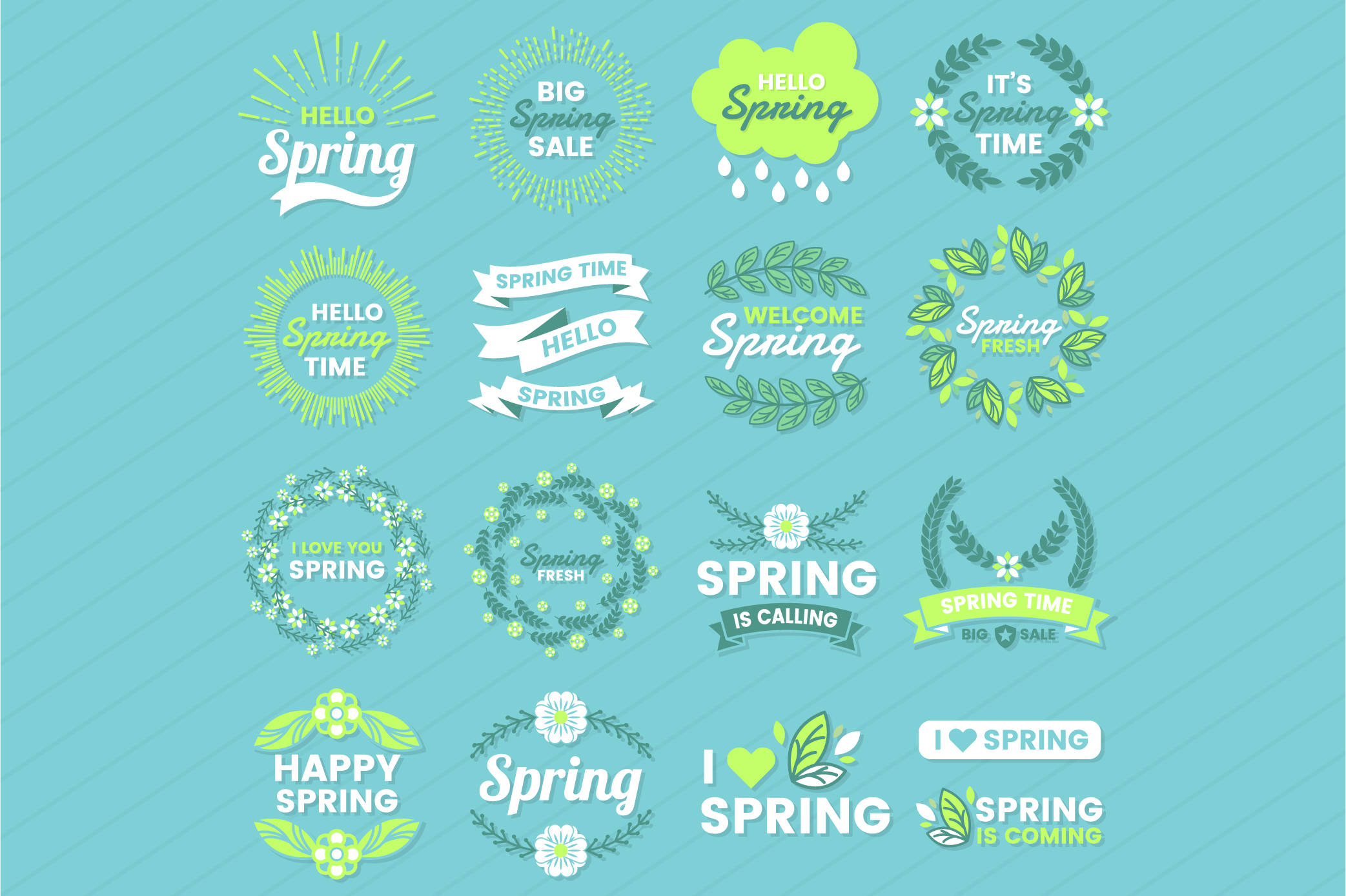 Spring Badge & Objects Vector Set example image 1