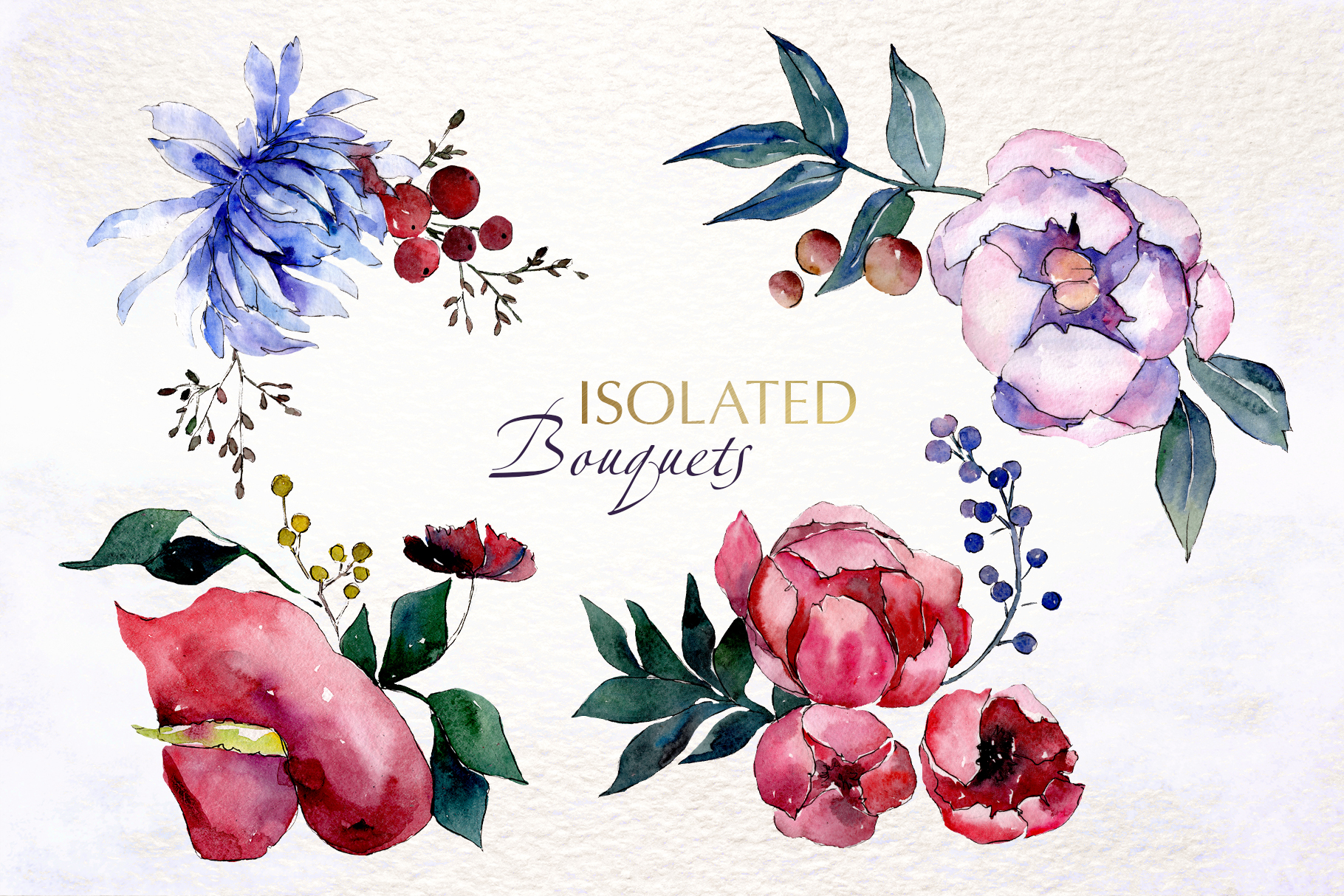 Bouquets with flowers Watercolor png example image 7