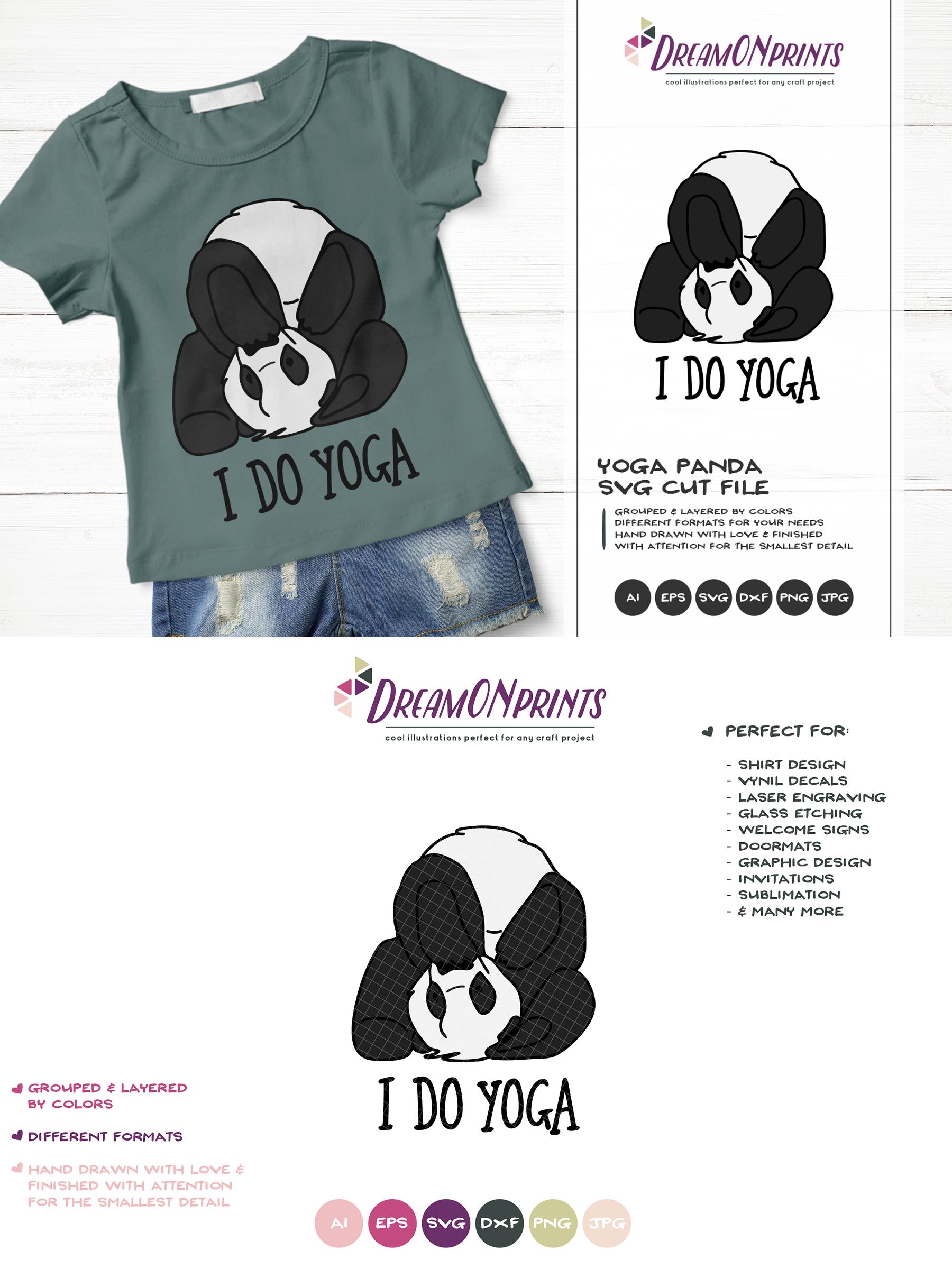 I Do Yoga | Panda Bear SVG | Funny Panda Illustration example image 3