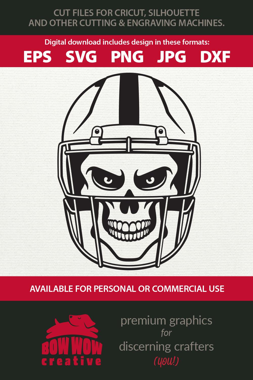 Skull Wearing Football Helmet SVG, EPS, JPG, PNG, DXF example image 2