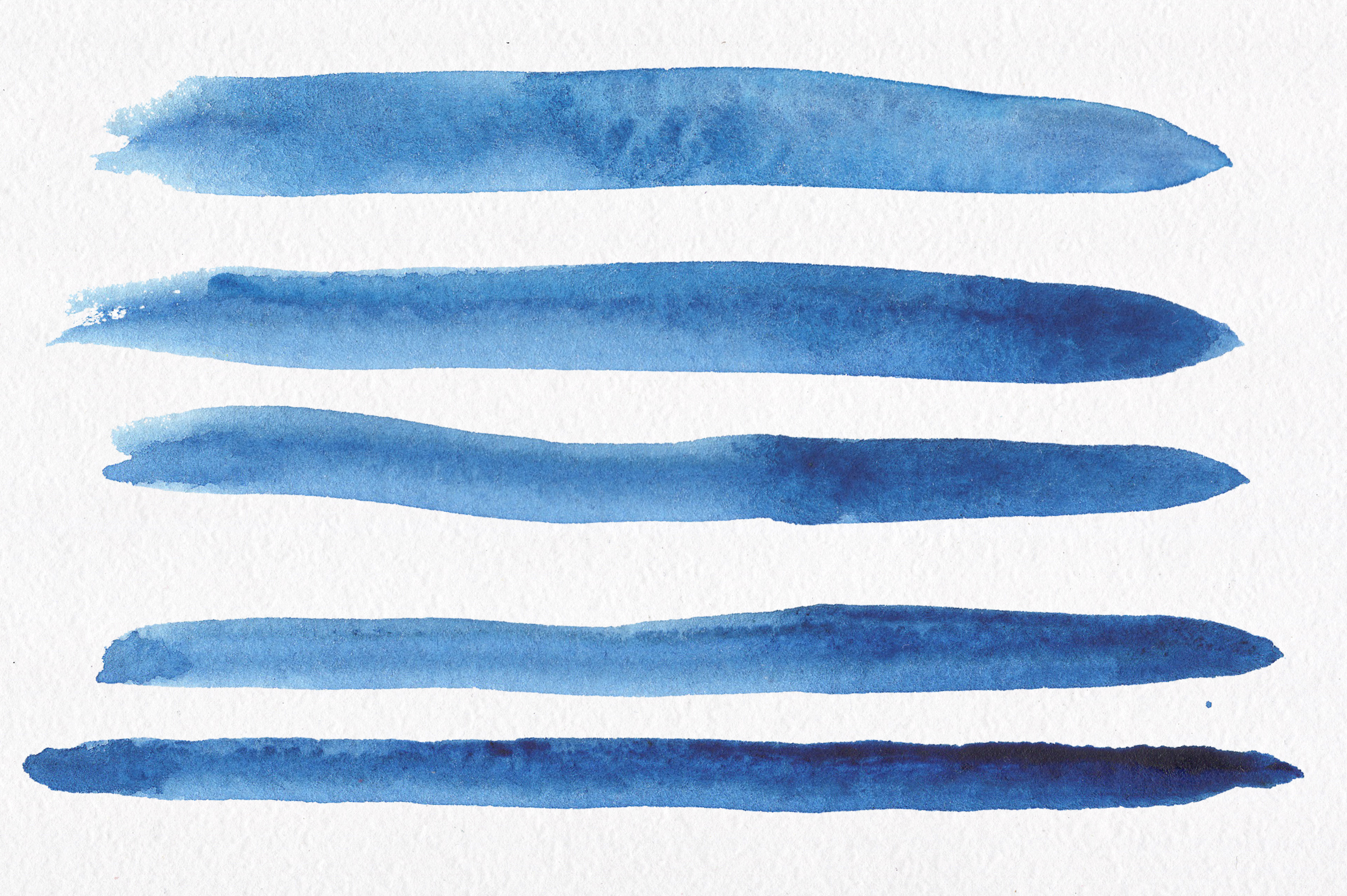 Blue watercolour seamless patterns set. example image 9