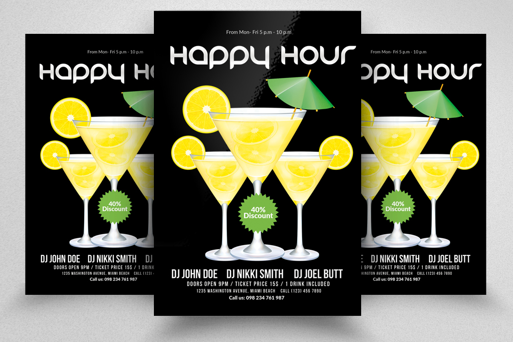 10 Happy Hour Flyer Template Bundle example image 6