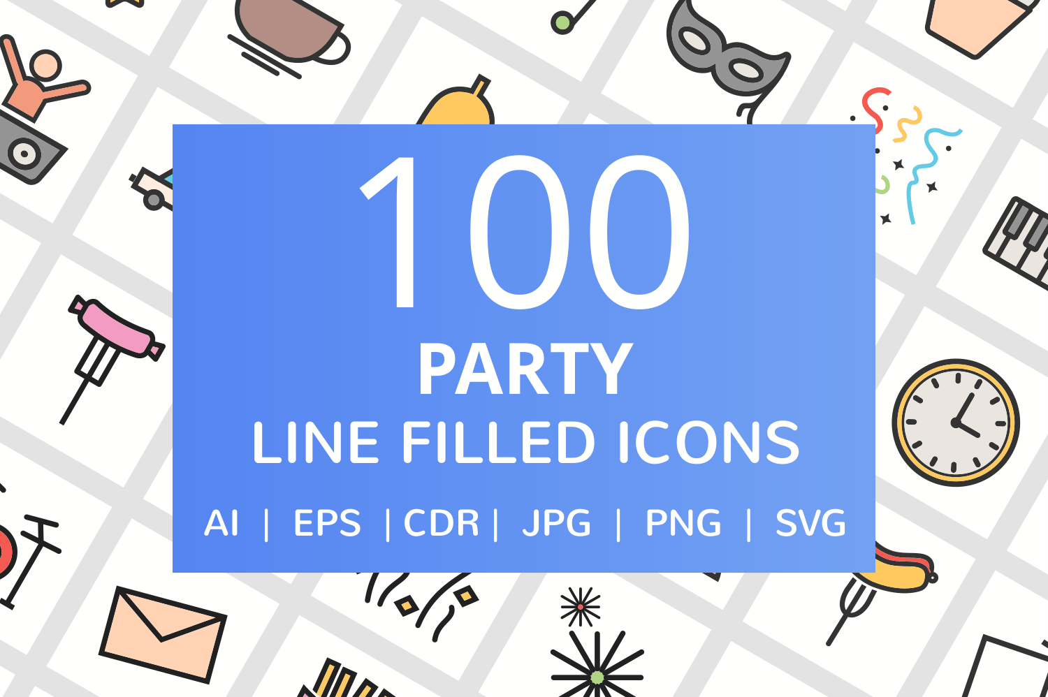 100 Party Filled Line Icons example image 1