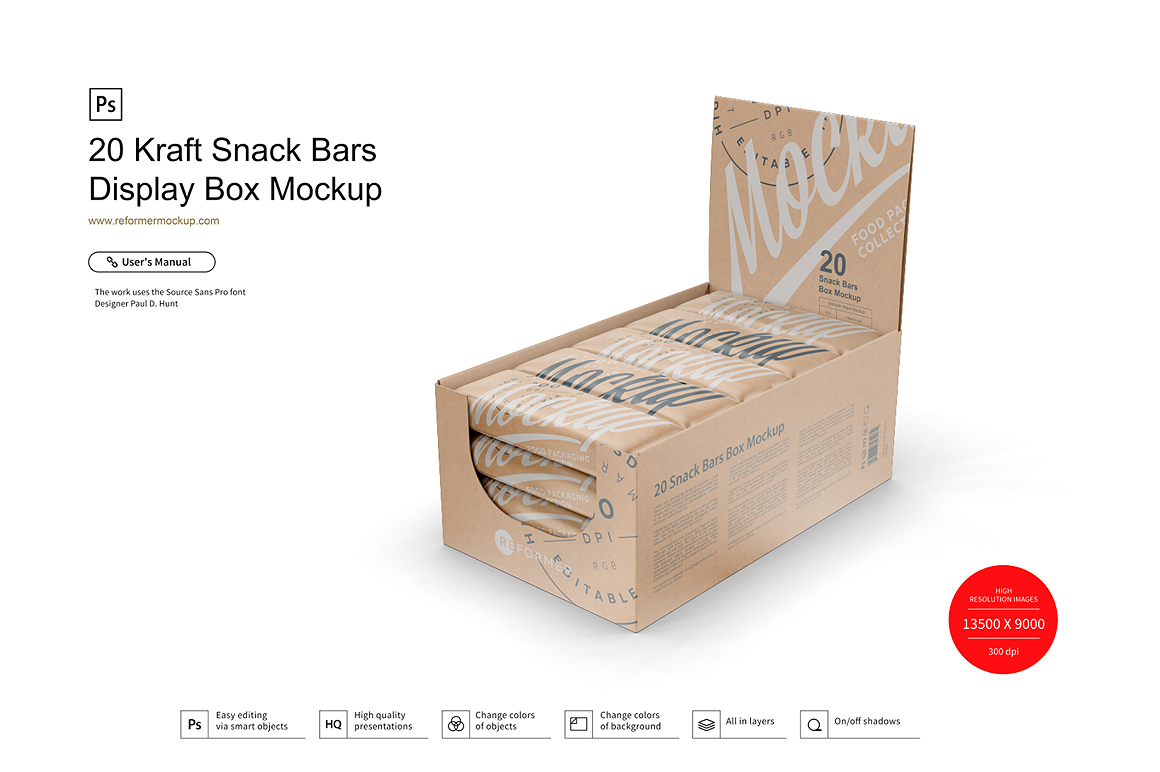 20 Kraft Snack Bars Display Box Mockup example image 1