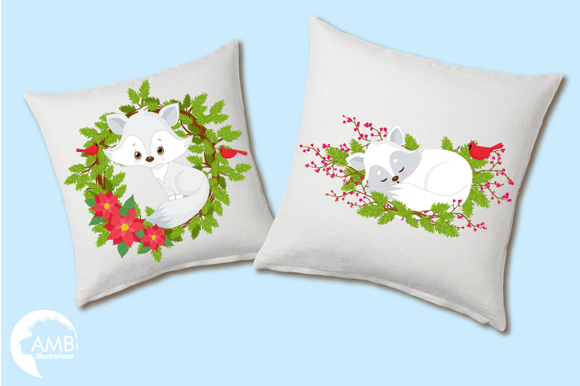 Winter Foxes cliparts, graphics, illustrations AMB-2298 example image 2