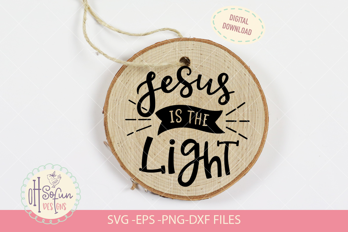 Jesus is the light, hand lettering Christmas ornament SVG example image 1