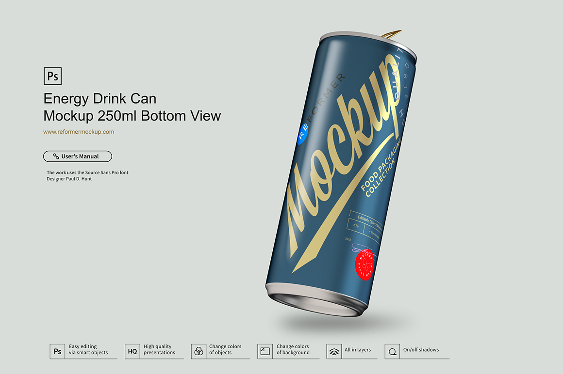 Energy Drink Can Mockup 250ml Bottom View example image 1