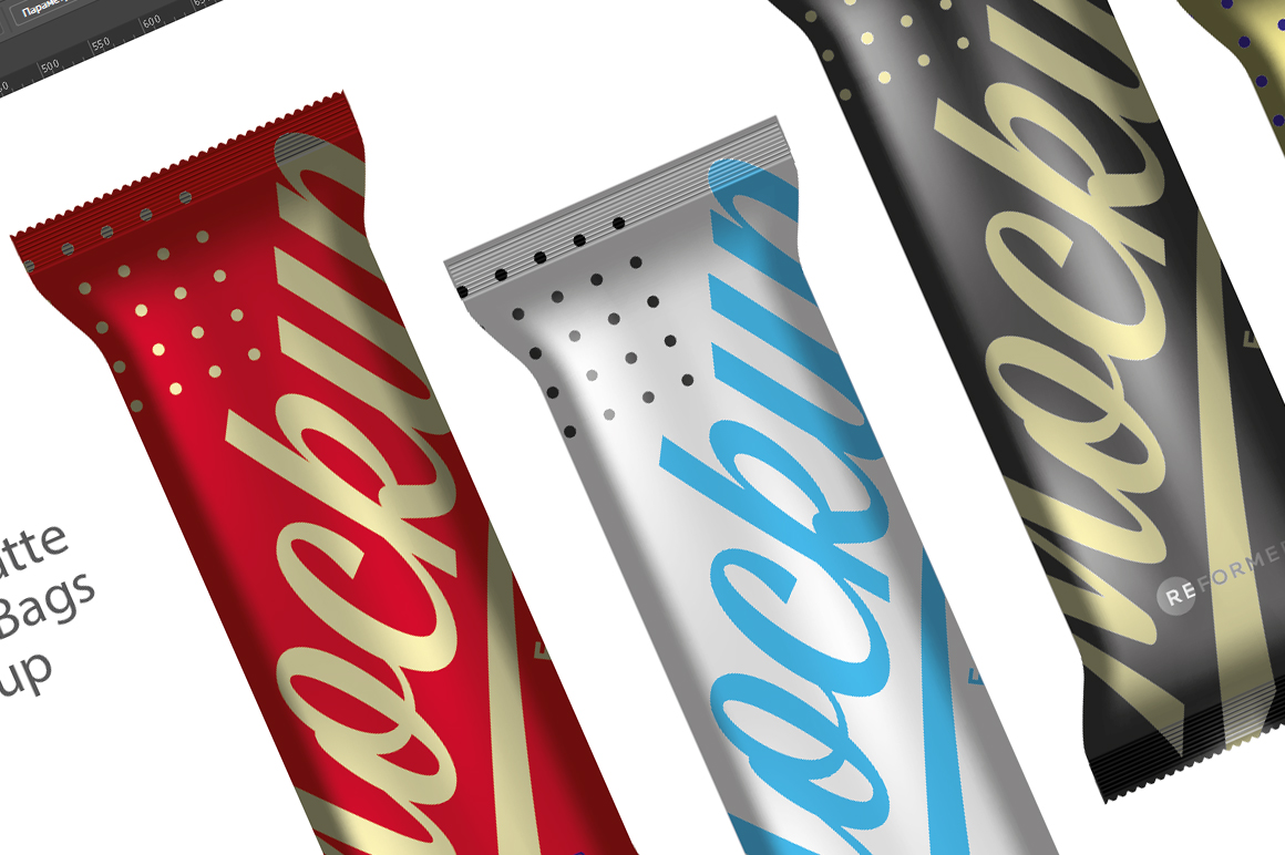 Four Matte Snack Bars Mockup example image 4