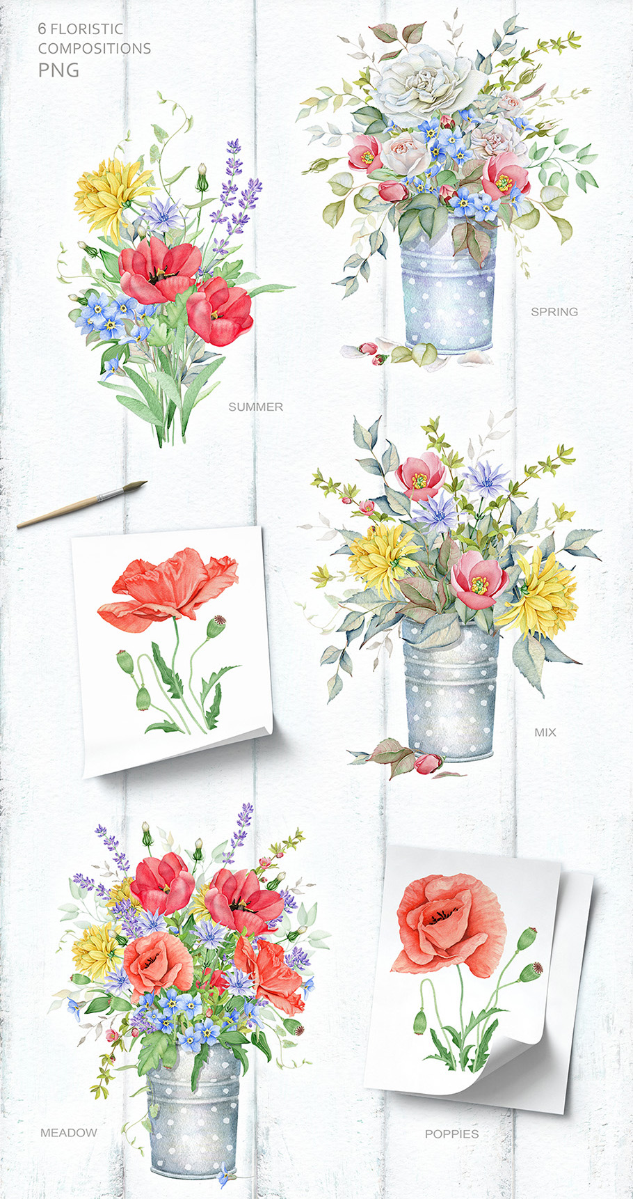 15%OFF. Watercolor Floral Collection example image 8