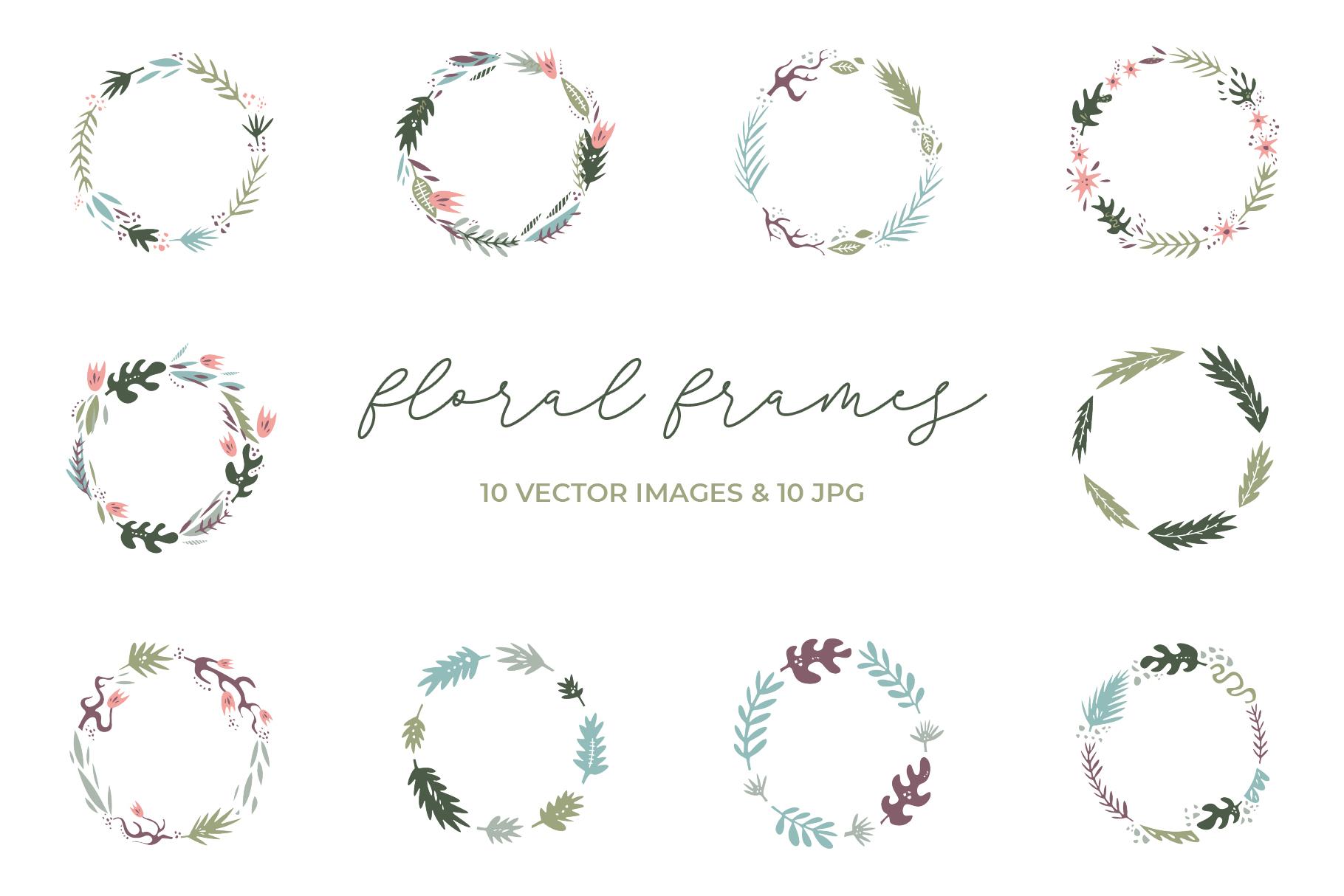 Floral frames clip art set example image 1