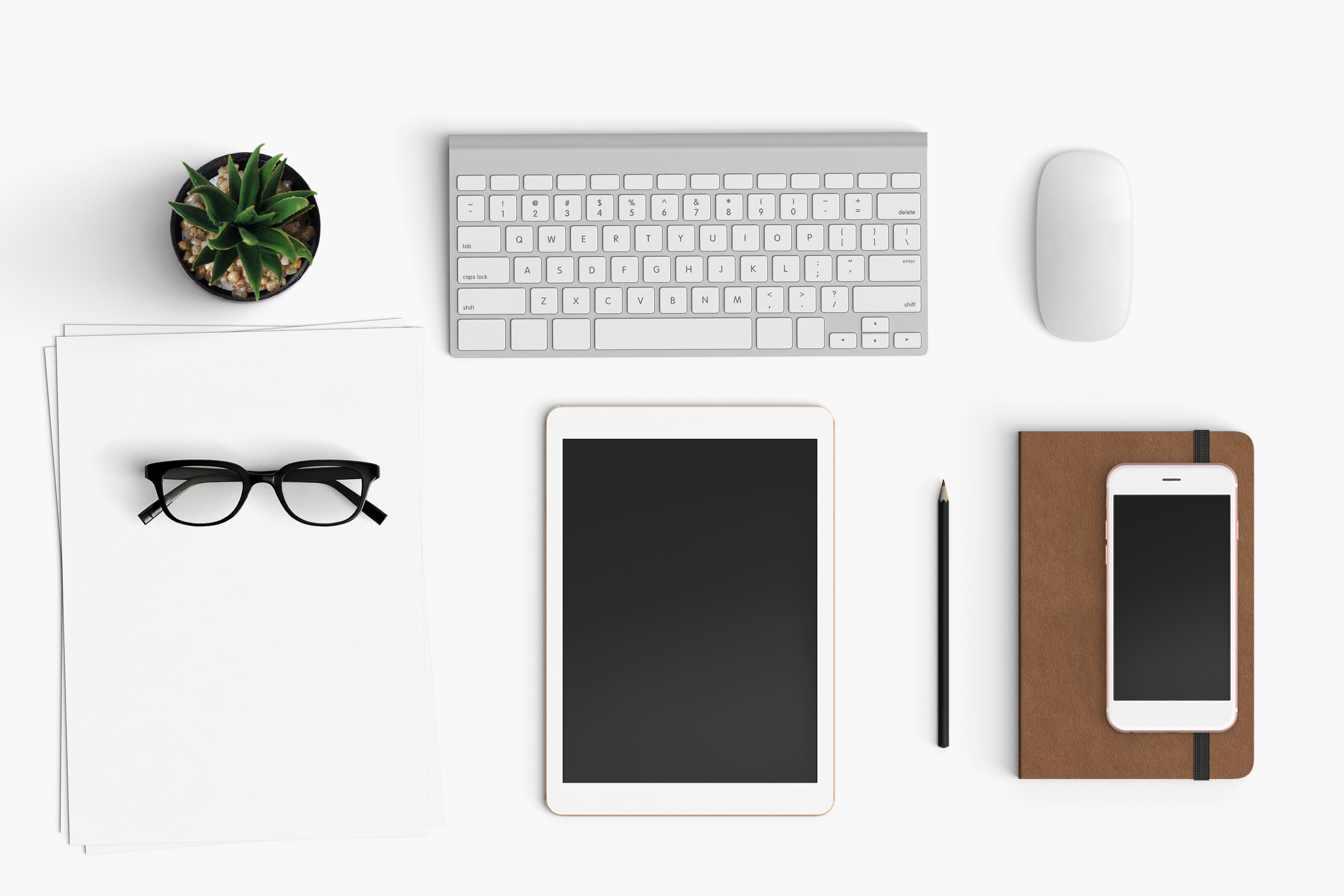 Modern workplace. Top view. Flat lay style. 17 example image 1