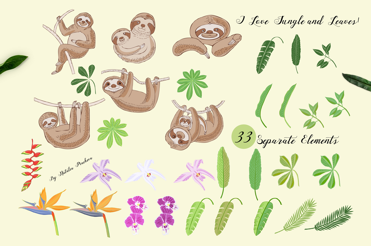 Sloths in Jungle Digital Clipart example image 2