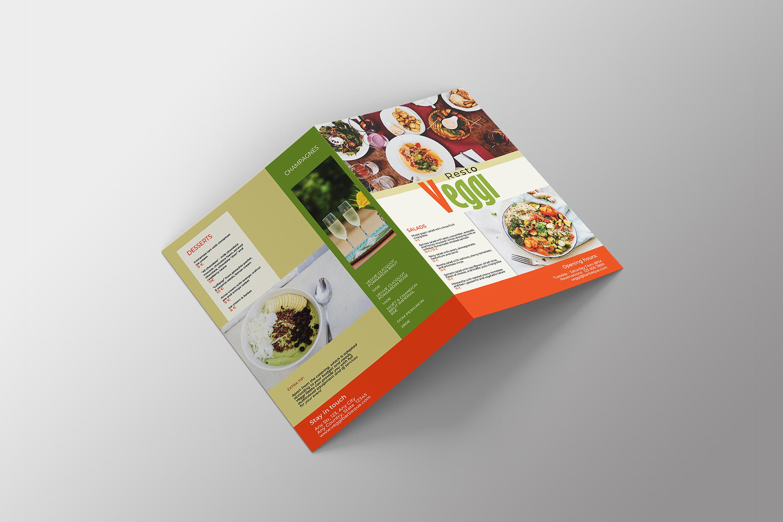 Vegan Menu Bifold Brochure A3 - AI/PSD Templates example image 6