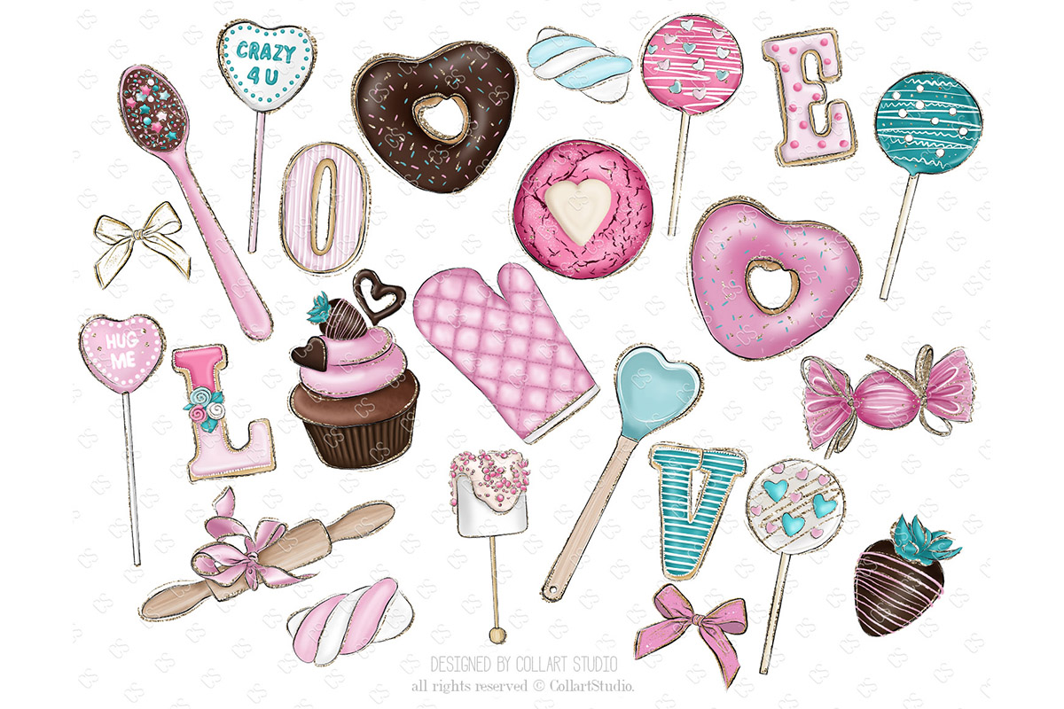 Valentine's Day Clip art, sweets clipart, love desserts example image 3