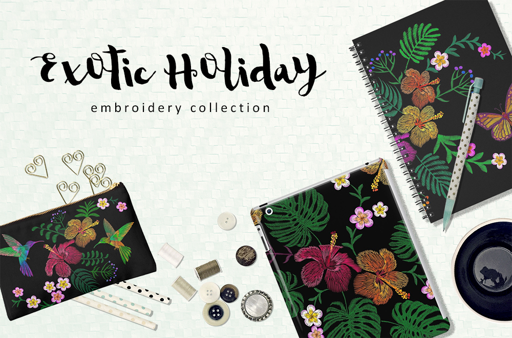 Exotic Holiday Vector Embroidery Print Set example image 1