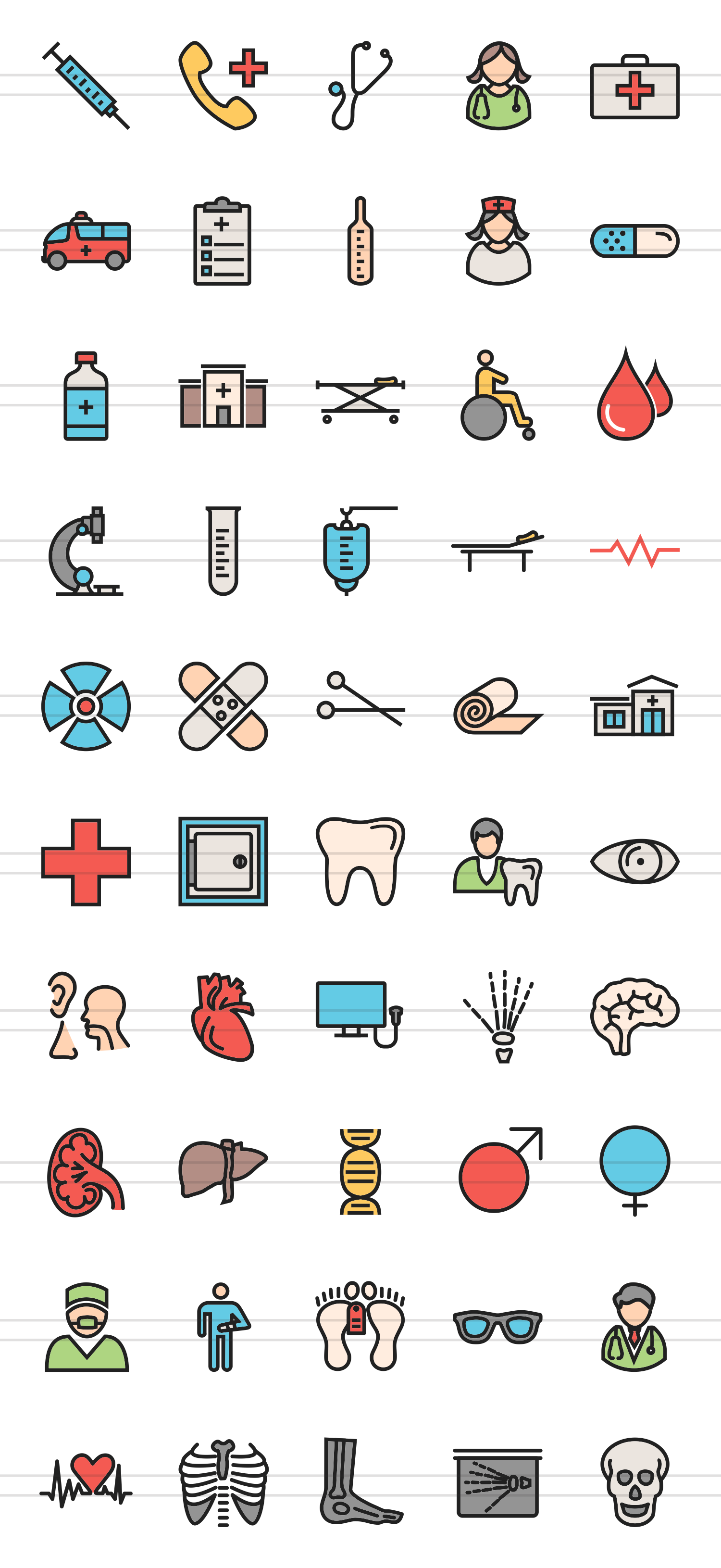 50 Medical Linear Multicolor Icons example image 2