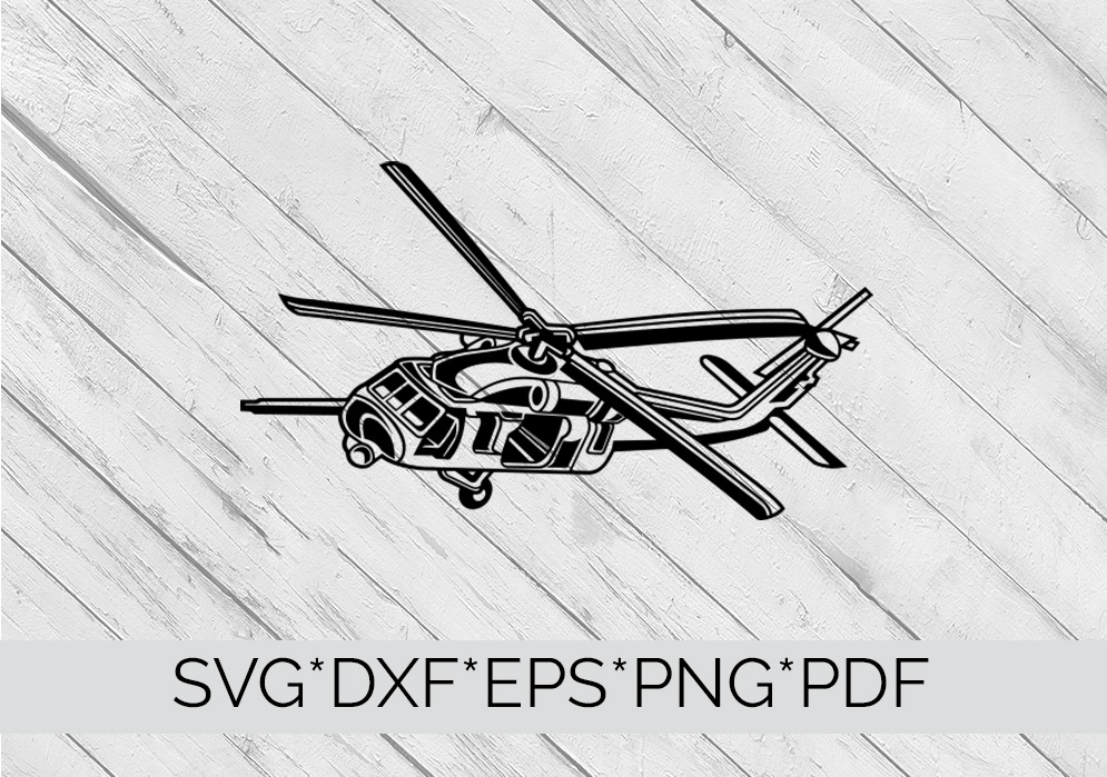 Helicopter Chopper Military SVG Cutting File  example image 3