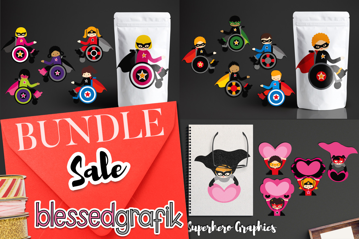 Superhero kids in wheelchairs - Disability Graphics Bundle example image 1