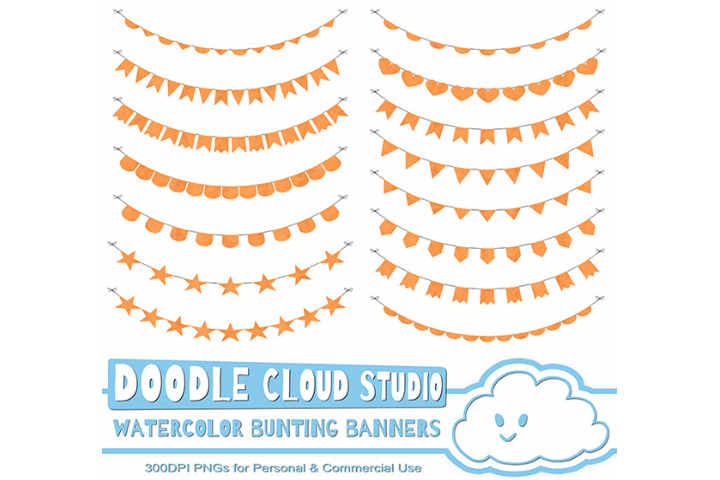 Watercolor Bunting Banners Cliparts, Watercolor texture Flags, Green, Orange, Yellow Colors, Instant Download, Personal & Commercial Use example image 2