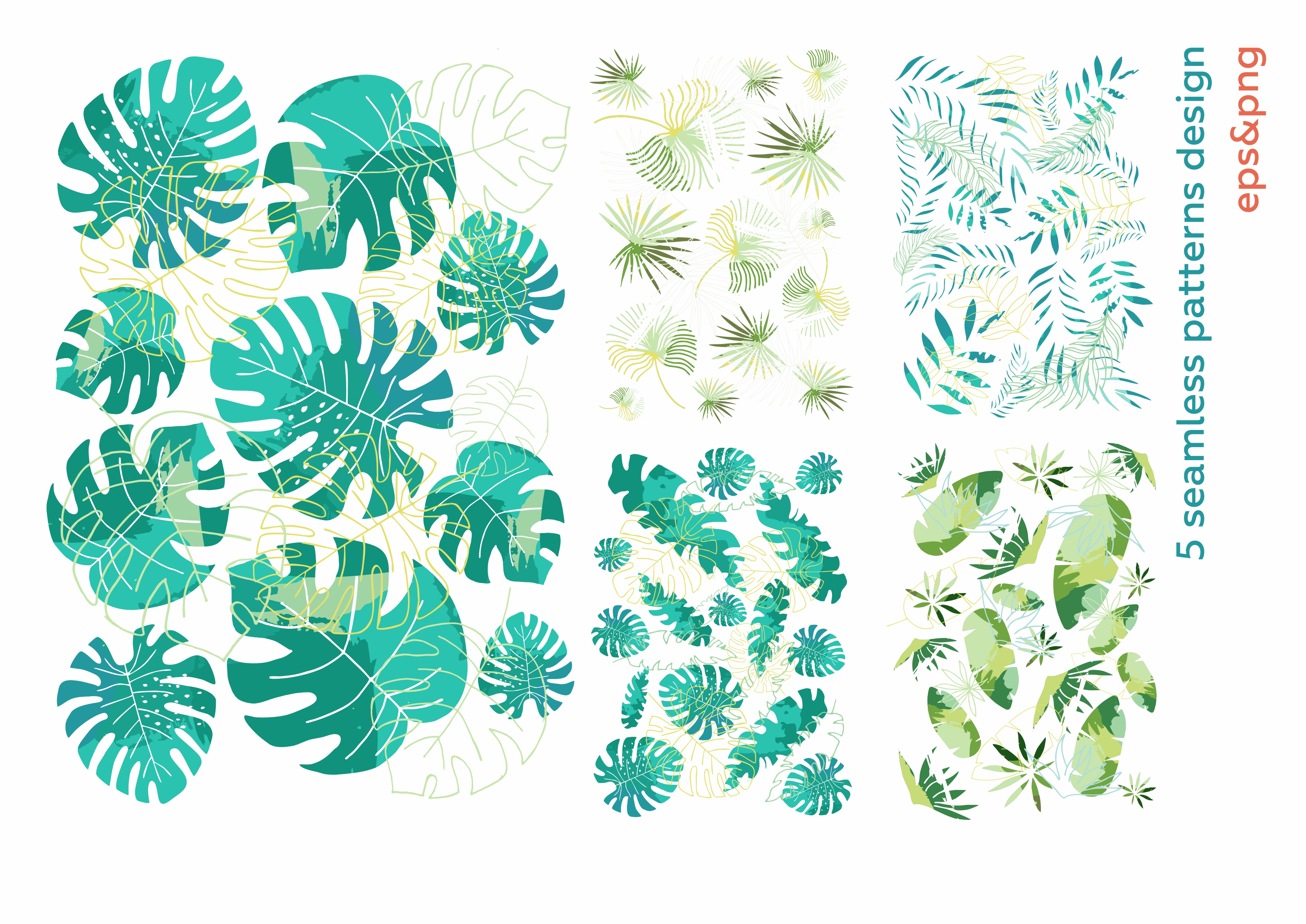 Hide in tropical leaves! Summer hand drawn patterns set example image 6