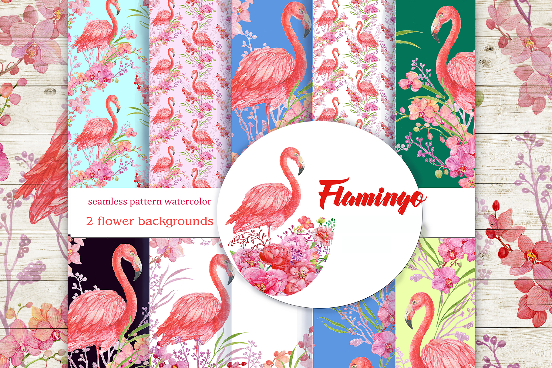 Flamingo seamless patterns example image 1