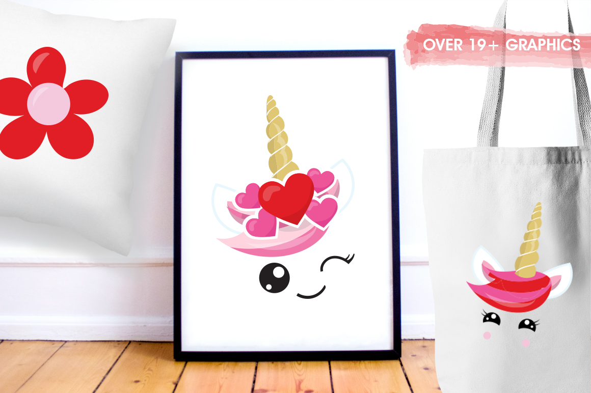 Love Unicorn faces graphic and illustrations example image 5