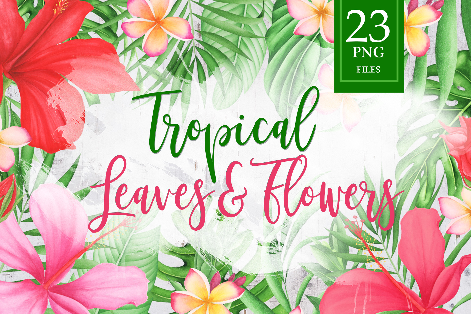 Watercolor Tropical Leaves and Flowers example image 1