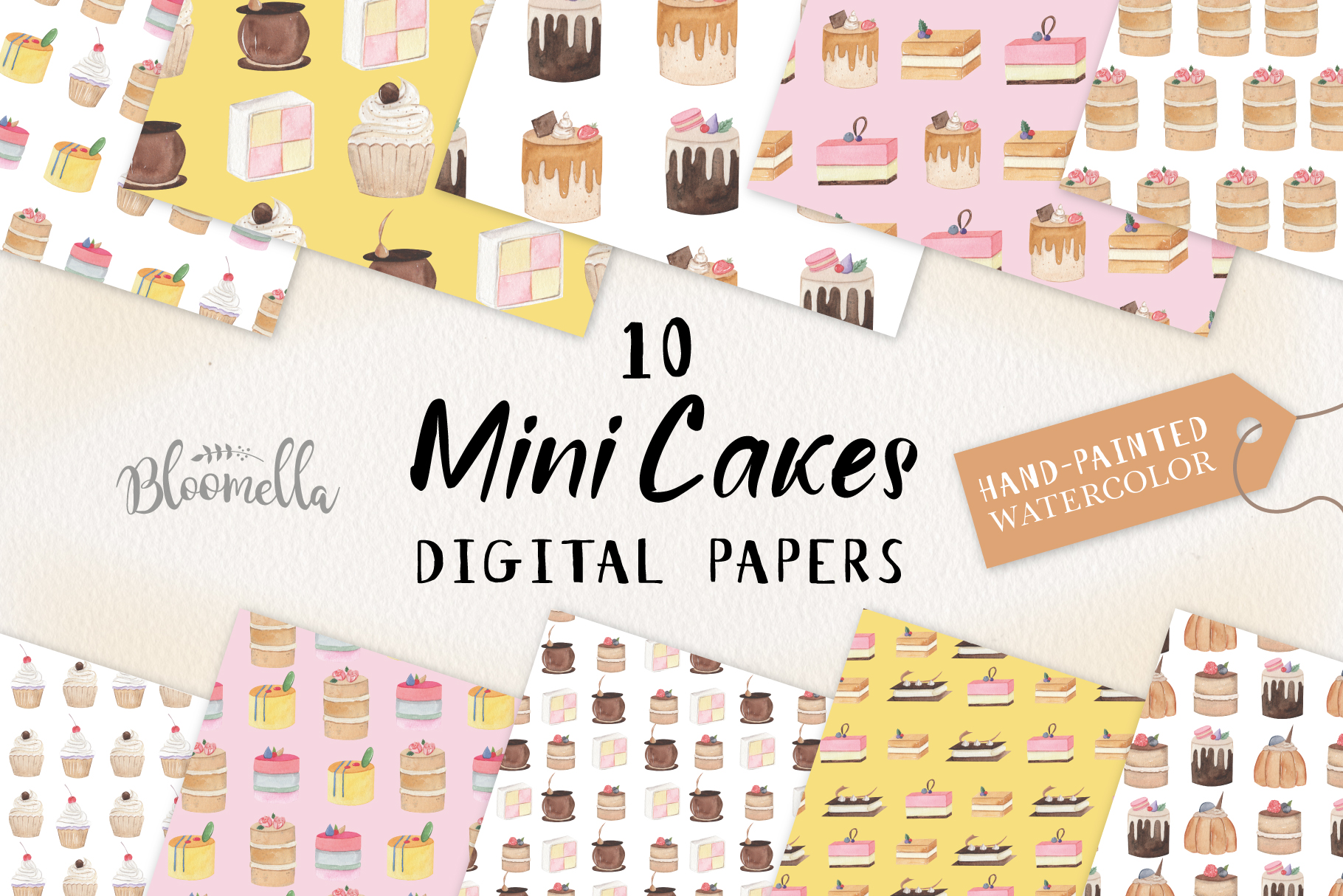 Mini Cakes 10 Seamless Patterns Digital Papers Icing Cake example image 1