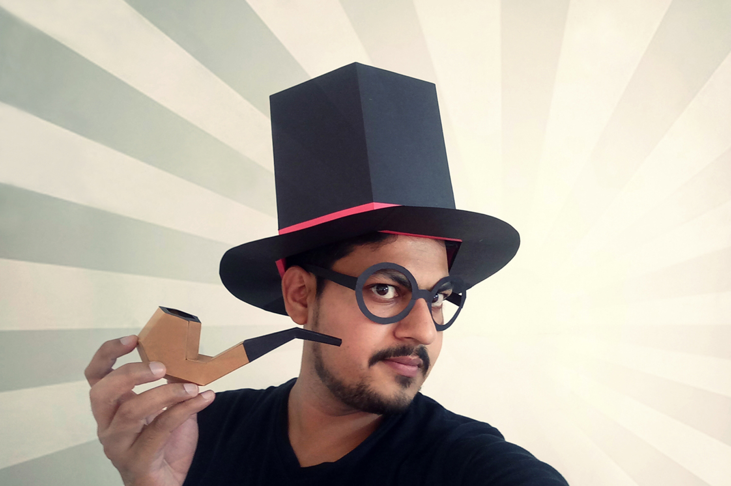 DIY Hat with Cigar - 3d papercraft example image 1