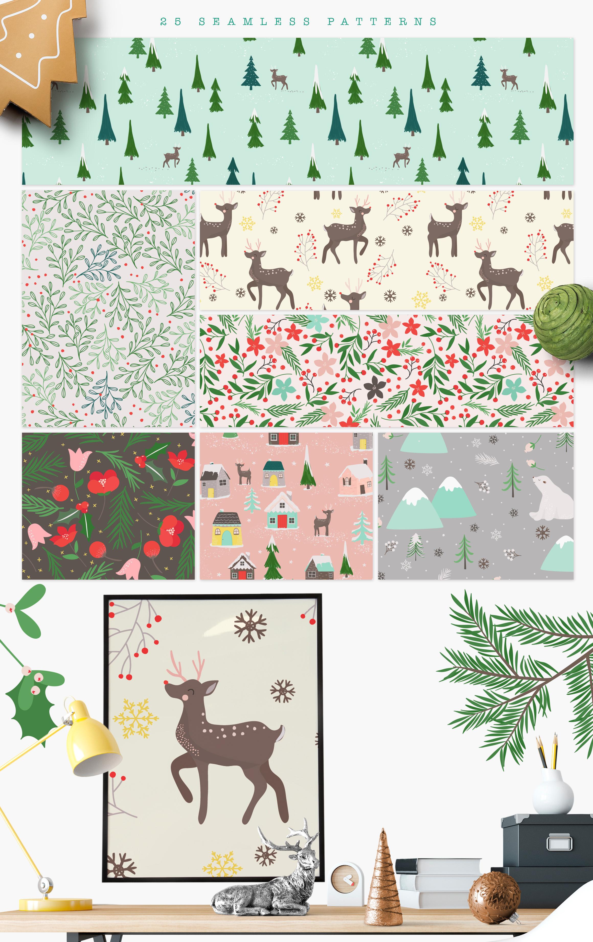 Winter Village Seamless Patterns example image 3