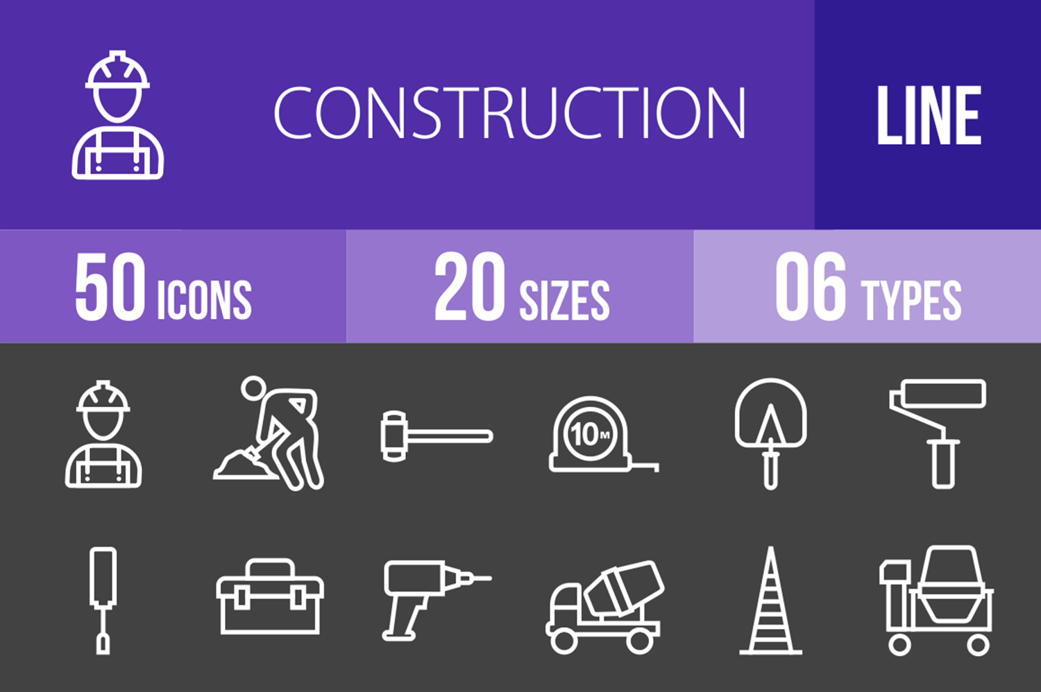 50 Construction Line Inverted Icons example image 1