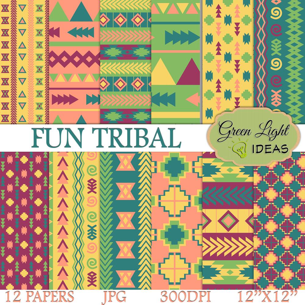 Fun Tribal Digital Papers example image 1