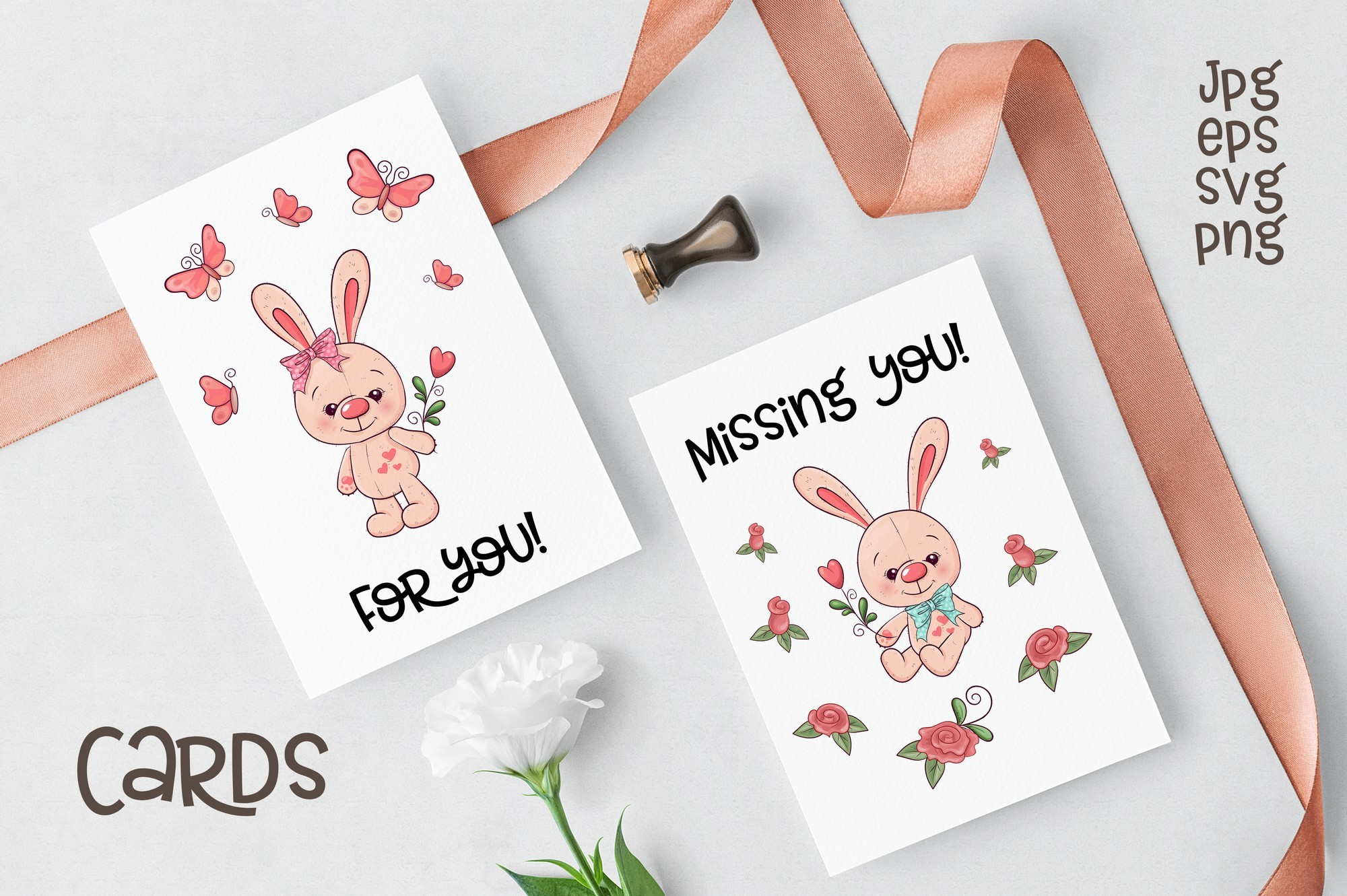 Cute Rabbit - vector clip art example image 2