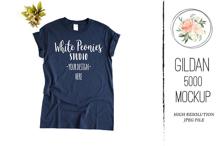 Navy GILDAN 5000 Shirt Mockup with plant example image 1