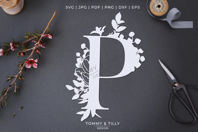 P Bouquet Letter Design - Paper Cut SVG EPS DXF PNG PDF JPG example image 4