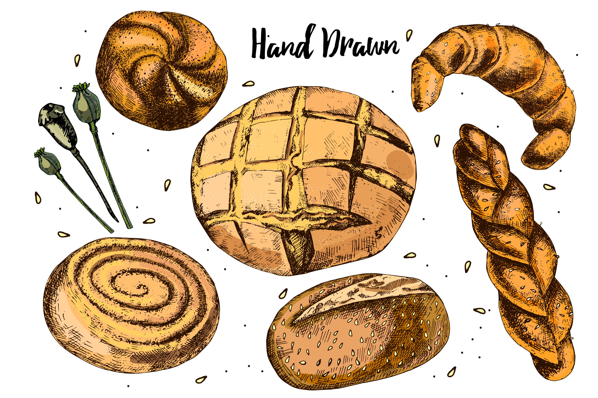 Bread and pastries. Hand drawing. example image 2