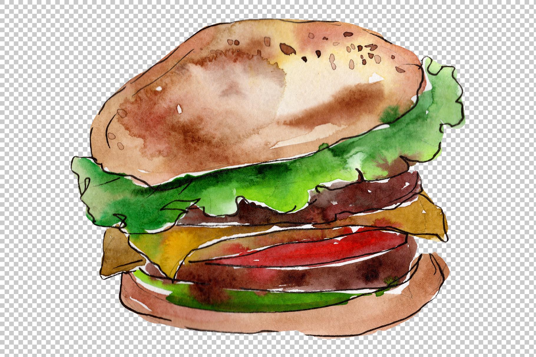 European Hamburger Watercolor png example image 7