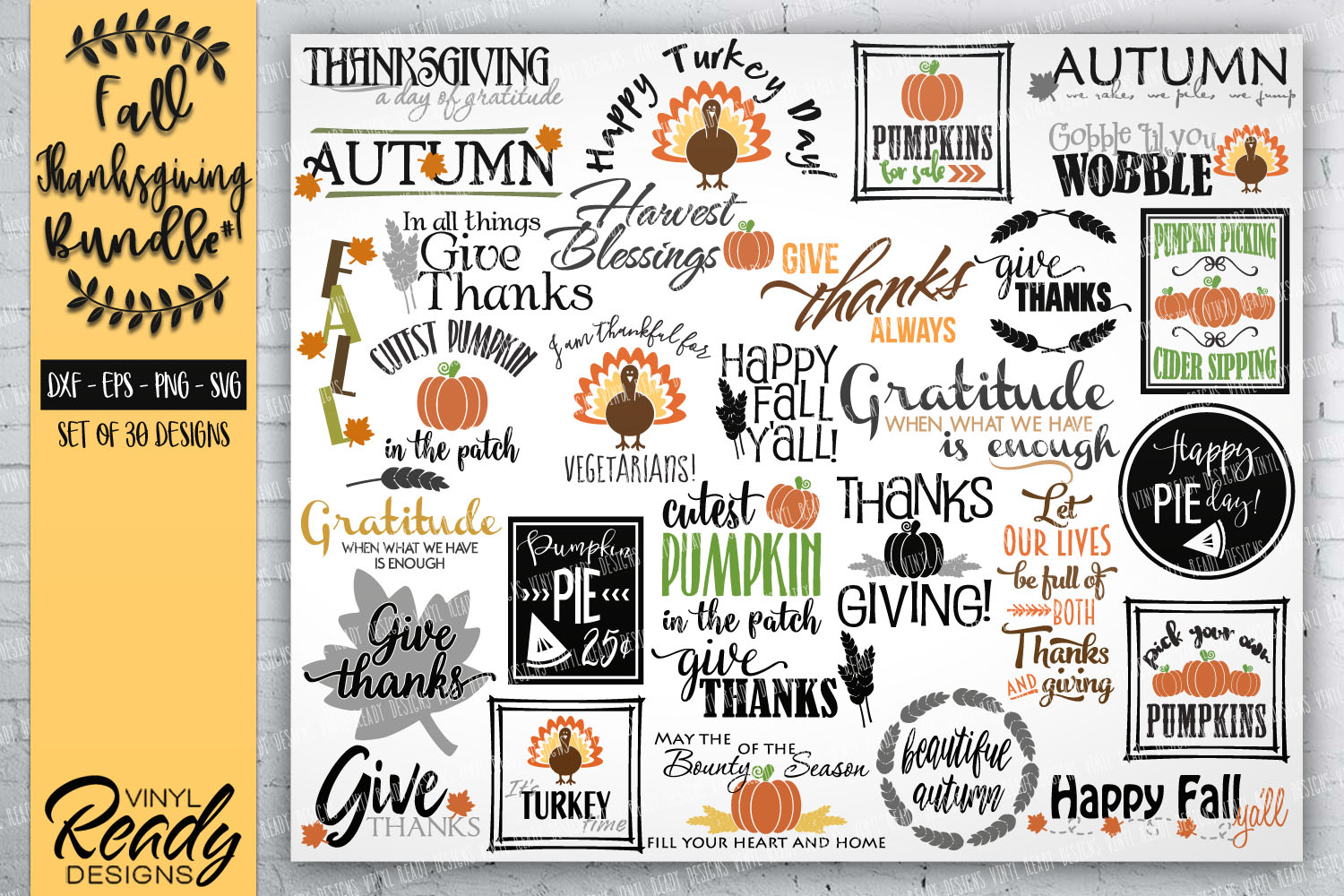 Fall Autumn Bundle #1- 30 designs - Vector Clip Art Files example image 1