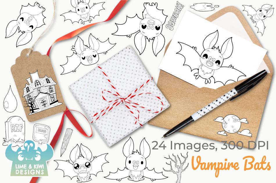Vampire Bats Digital Stamps, Instant Download Vector Art example image 4