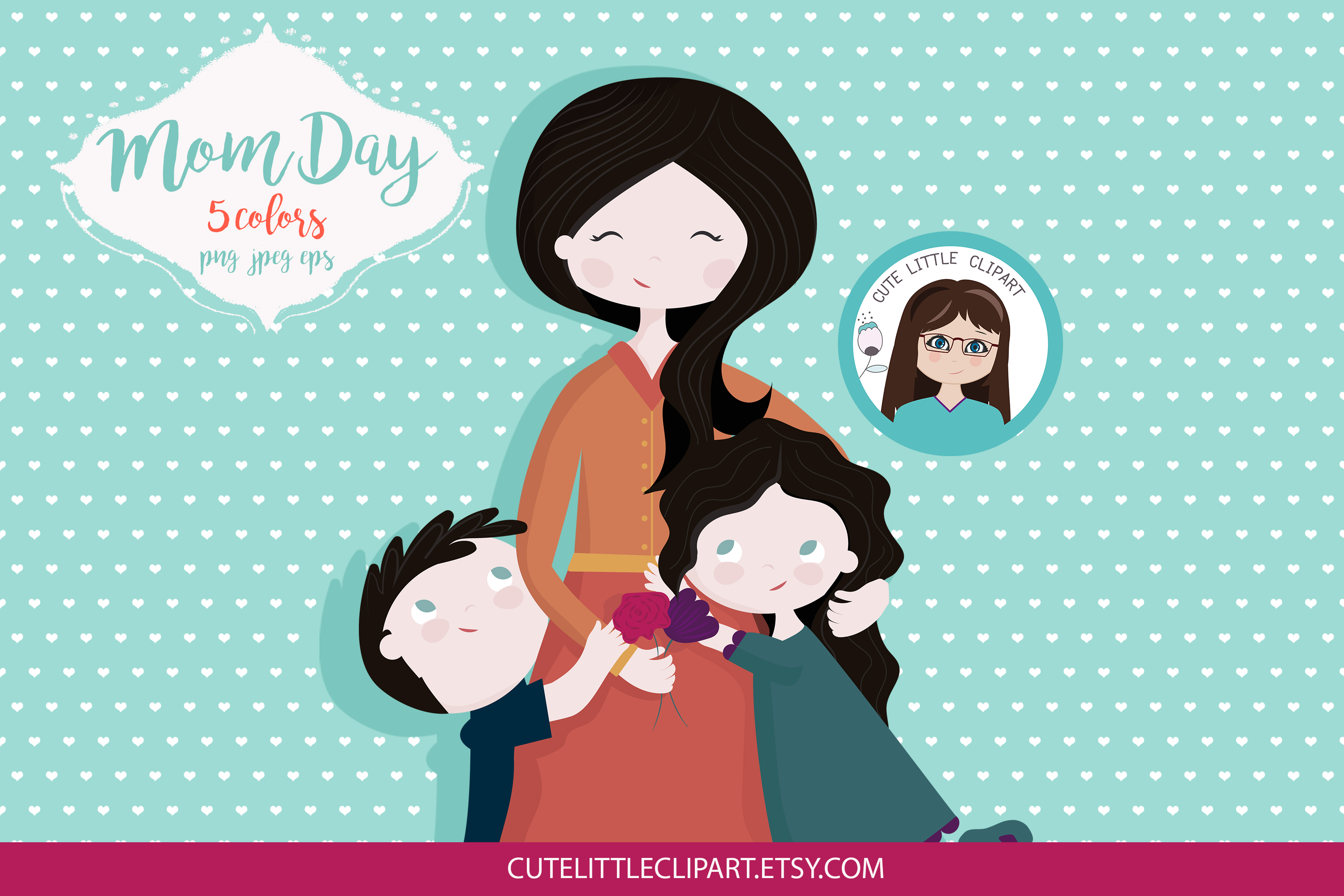 Mom and children clipart example image 6