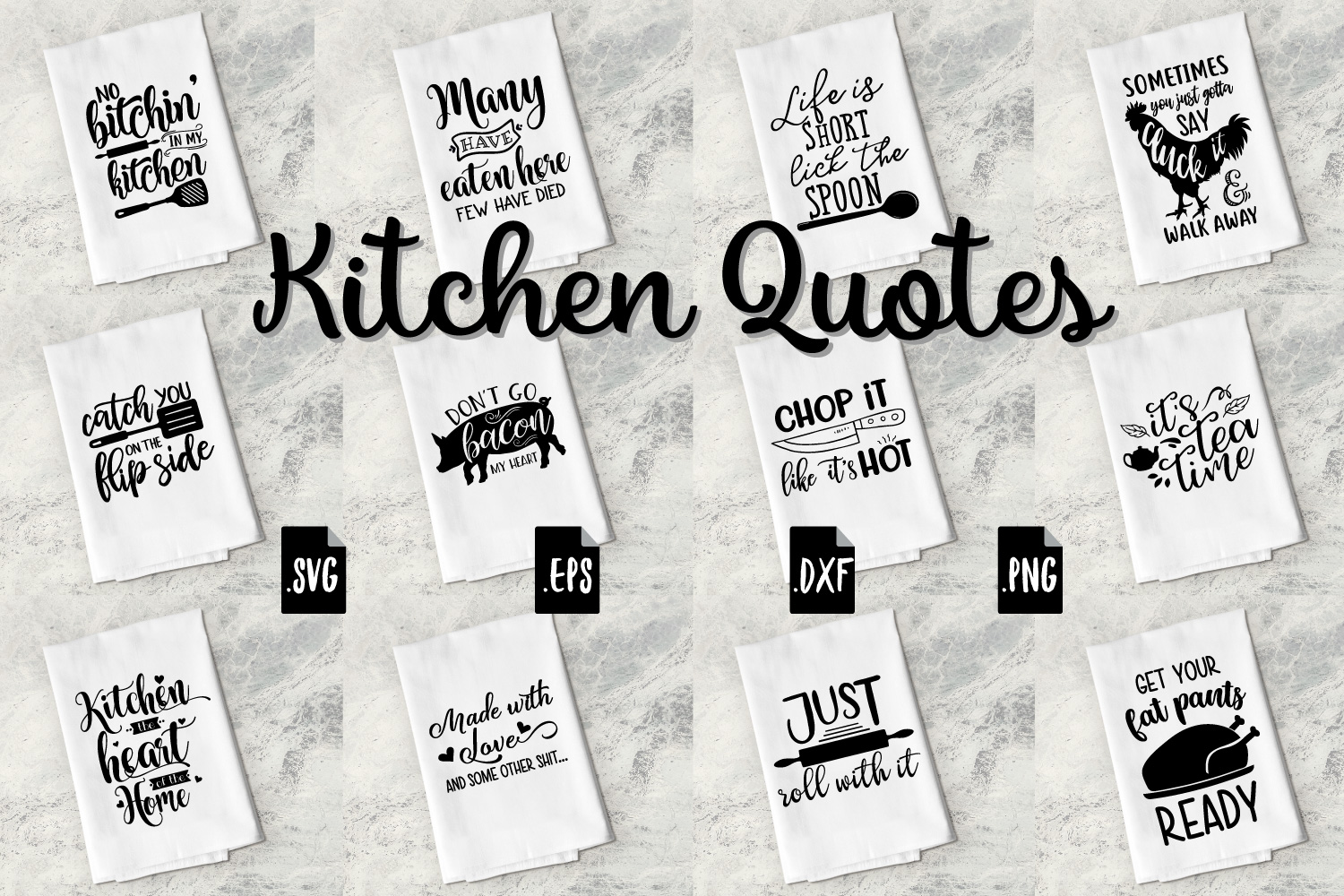Funny Kitchen Quotes Bundle Svg Eps Dxf Png