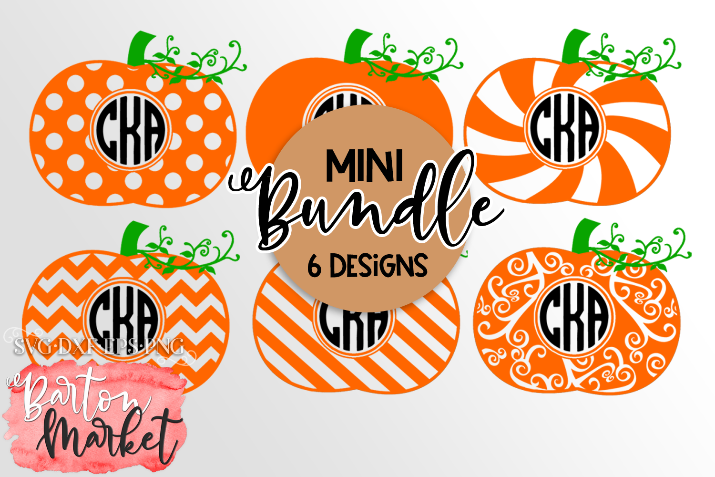 Mini BUNDLE of 6 Pumpkin Monograms SVG DXF EPS PNG example image 1