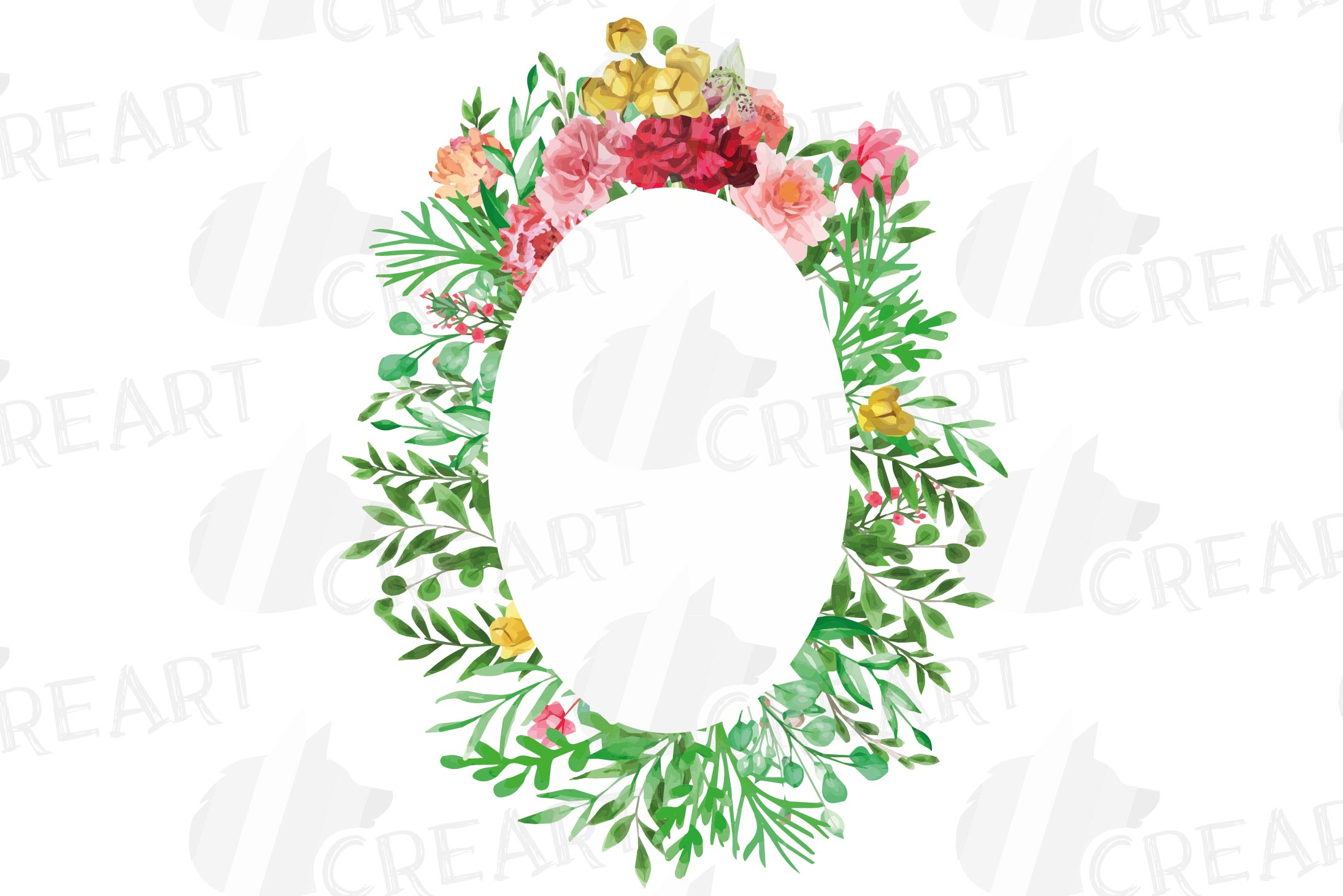 Watercolor floral floral frames and borders clip art pack example image 5