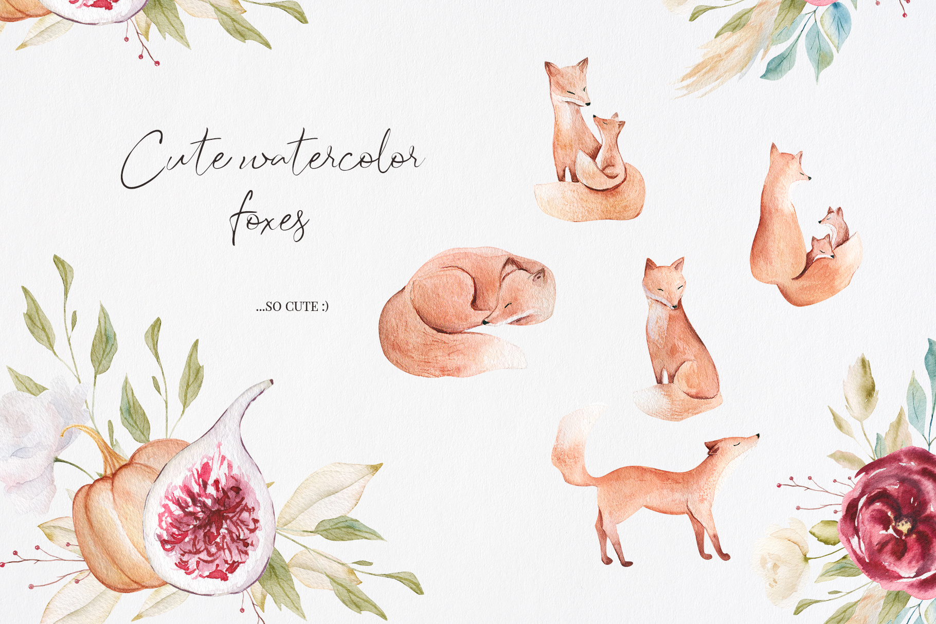 It's Autumn Story Collection, watercolor autumn fox, fall example image 6