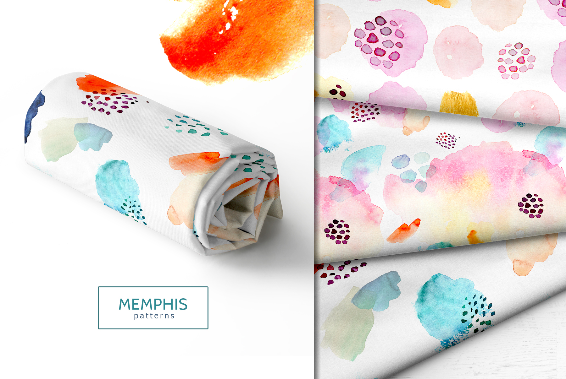 Watercolor memphis patterns & shapes example image 2