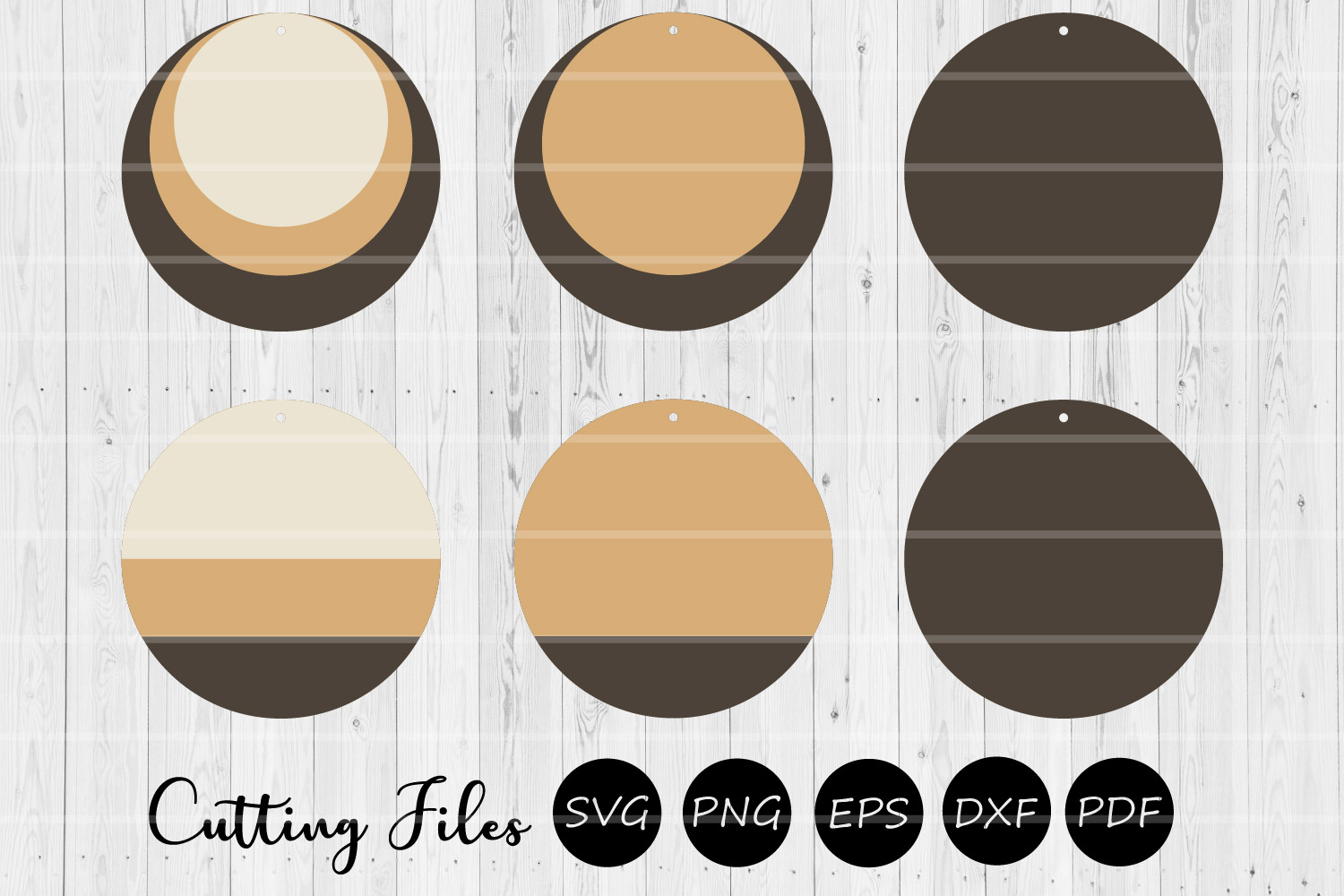 Round Stacked Earrings   SVG cutting files   Commercial use  example image 1